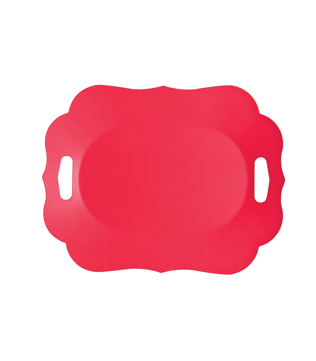 Romantic Tray with Plastic Handles Red